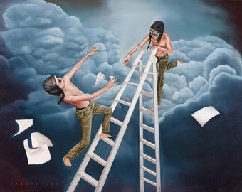 """Print of Original Painting """"Pre-Emptive Strike"""", Boys with Paper Planes on ladder"""