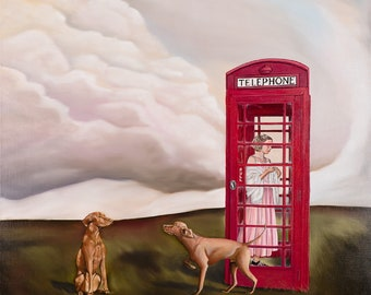 """Fine Art Print """" Call of the Wild"""" girl in phone box with dogs"""