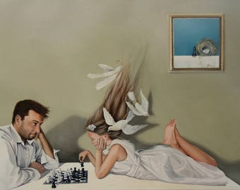 """Print of original painting """"She Gives Me Presents, with her presence"""", girl in white dress with dad playing chess"""