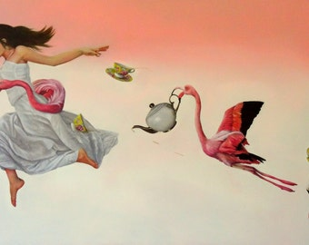 """Print of original painting """"Earl Grey with a Dash of Flamingo"""", woman in white dress with flamingo and tea set"""