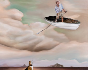 """Fine Art Print """"Sky Streams"""" boy in a boat in the sky with dog"""