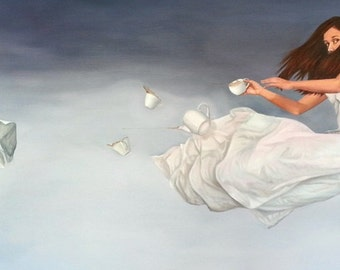 """Print of original painting """"Groundless"""", woman in sky with tea set"""