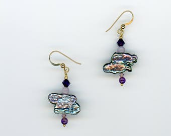 Pearl Earrings, Stick Pearl Earrings, Pearl and Amethyst Earrings, Freshwater Pearl Jewelry, Freshwater Pearl Earrings, Biwa Pearls