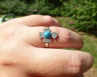 VTG Large 1 Peyote Bird Thunderbird inlay ring Native American Navajo sterling silver Zuni old pawn jewelry tribal birthday unisex gift