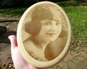 Charming Antique Art Deco Circa 1920s Flapper Photo, Celluloid on Metal Signed Photograph, Original, Lovely Wow