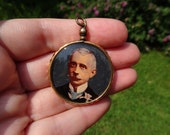 Antique Victorian Gentleman Rose Gold Filled Picture Locket Pendant, Amazing Large Size, Hand Painted Photograph, 1890s