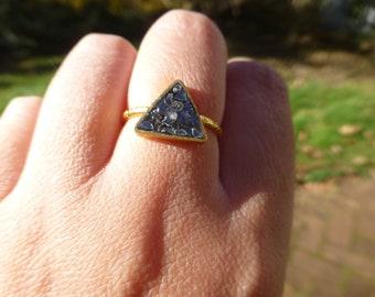 18k Yellow Gold Over Sterling 1 Carat Vintage Artisan Raw Diamond Ring Size 8.5 So Bold Large Rough Cut Raw Diamond Unusual Design