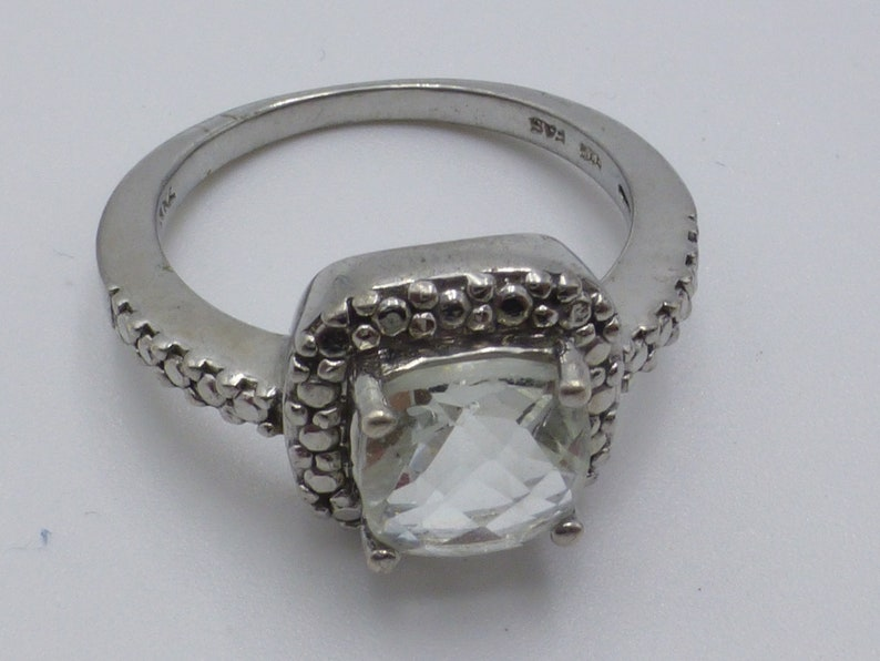 Vintage Solid Sterling Silver White Topaz Engagement Ring Luxe Size 6.5 Unique See! Look of Diamond