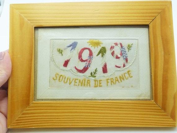 Antique Edwardian 1919 French Embroidered Framed … - image 1