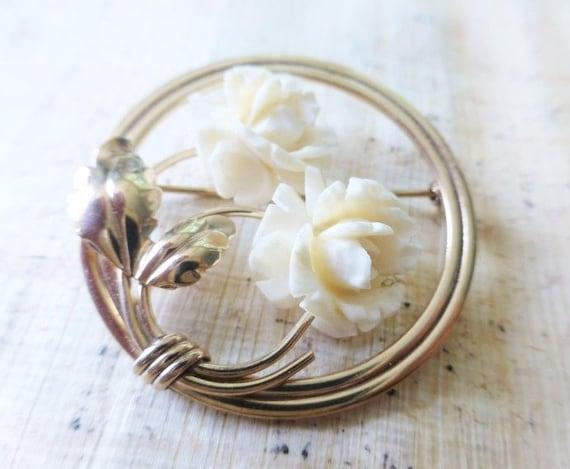 Vintage Burt Cassell Single Carved White Rose Brooch 12K Gold Brooch
