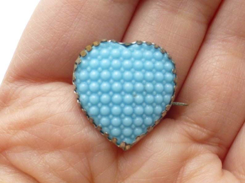 Great Gift Idea Circa 1900 Wow Antique Victorian Heart Brooch Faux Glass Turquoise and Silver Plated Unique