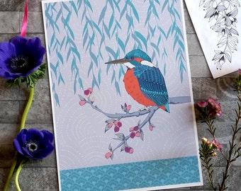 Kingfisher Art Print, Bird Art Print, Bird Lovers Gift, A4 Art Print, Archival