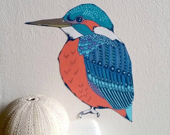 Kingfisher Wall Decal, Bird Wall Sticker, Removable Wall Stickers, Modern Interior, Fabric Stickers, Nursery Wall Sticker, Bird Lovers Gift