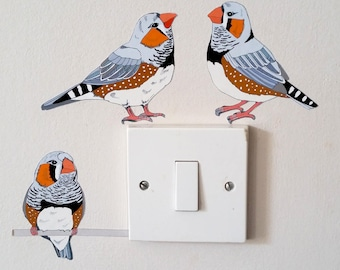 Zebra Finch Light Switch Decal, Bird Wall Sticker, Australian Bird Decal
