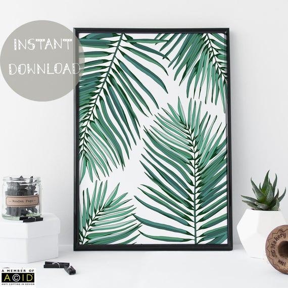 Tropical Bathroom Wall Decor: Tropical Leaf Printable Palm Leaves Wall Art Bathroom
