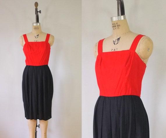 vintage 1970s sheath dress   vintage red + black d