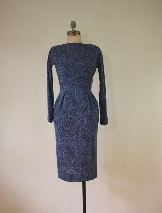 vintage 1940s paisley dress |  vintage navy dress… - image 3