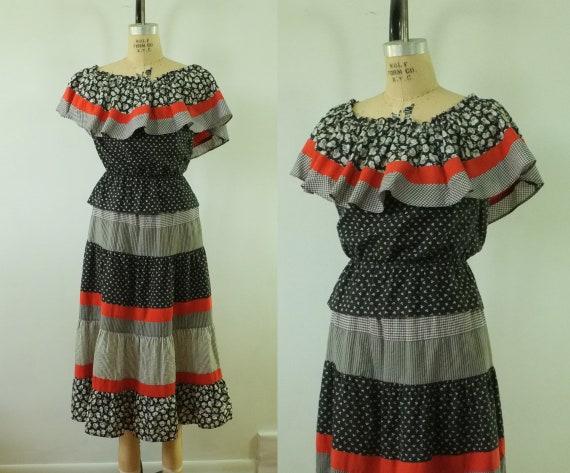 vintage peasant top and skirt set | peplum crop to