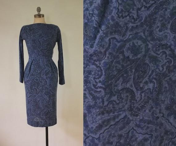 vintage 1940s paisley dress |  vintage navy dress… - image 2