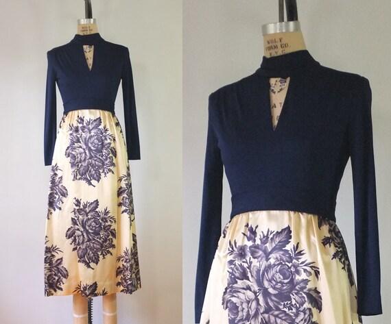 vintage 1960s tapestry dress | vintage floral navy