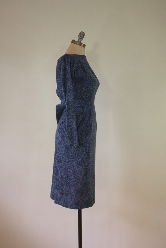 vintage 1940s paisley dress |  vintage navy dress… - image 4
