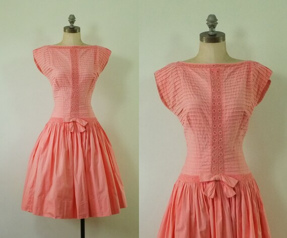 vintage pink 1950s dress | pink 1950s party dress