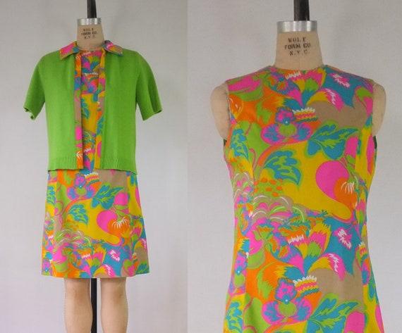 mod 1960s dress set | vintage 1960s dress and swea