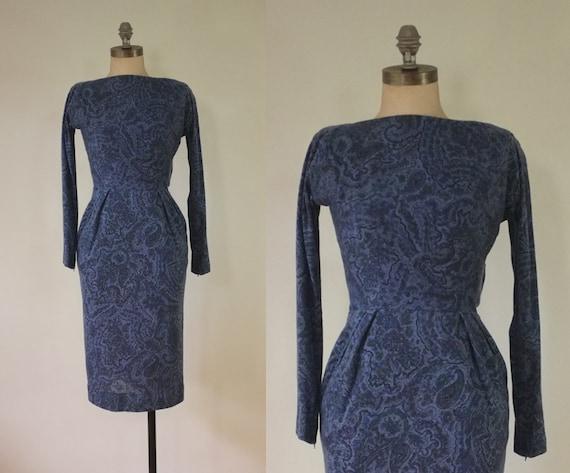 vintage 1940s paisley dress |  vintage navy dress