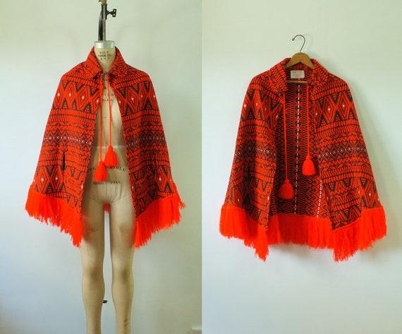 vintage tribal poncho | vintage red poncho | vinta