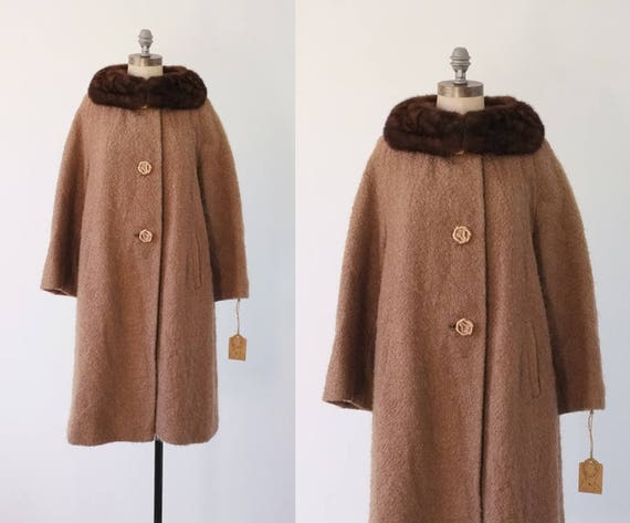 vintage coat |  brown boucle wool coat | 1960s bro