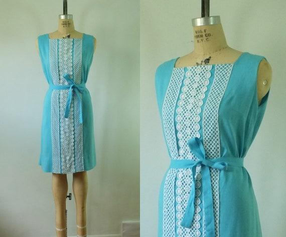 vintage light blue dress | vintage 1960s blue dres