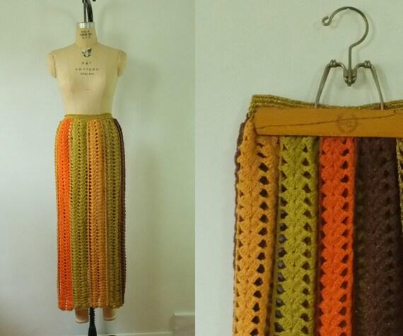 vintage crochet maxi skirt | 1970s boho maxi skirt