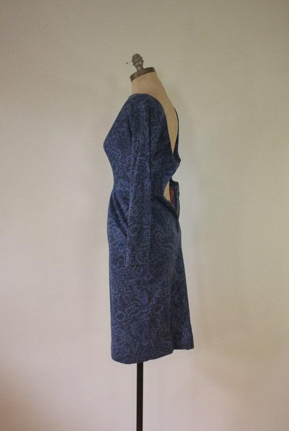 vintage 1940s paisley dress |  vintage navy dress… - image 6