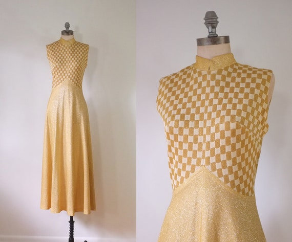 vintage 1970s metallic luxe gold maxi dress | vint