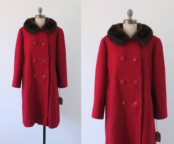vintage red coat | vintage boucle wool coat | 1960