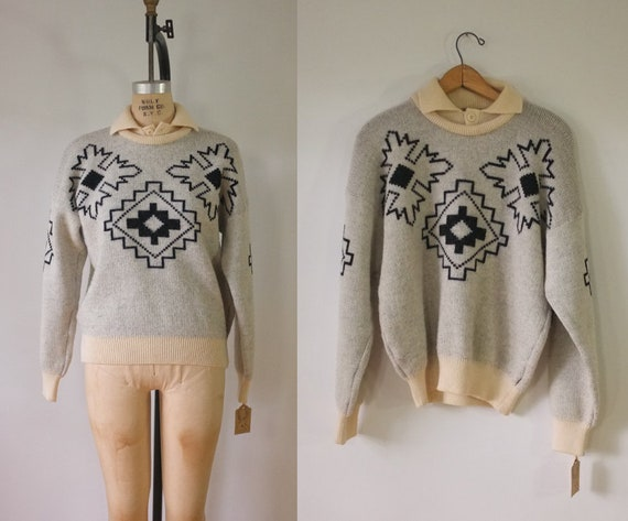 vintage FILA aztec sweater | vintage 1980s FILA pu