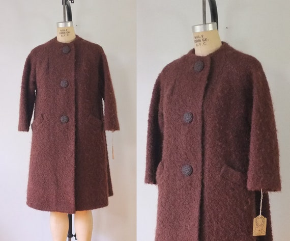 vintage brown boucle wool coat | vintage brown woo