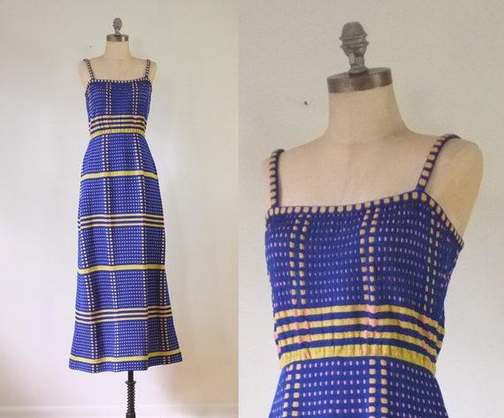 vintage 1970s navy dress | shirred dress | vintage