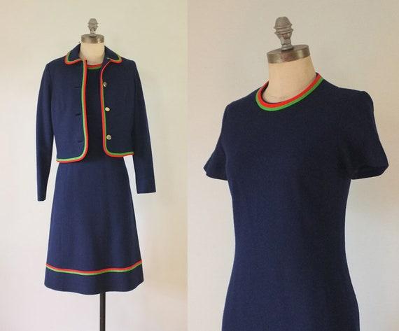 vintage 1960s navy dress + jacket set | vintage na