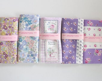 """5"""" x 5""""  5 FLORAL Japanese fabric Patchwork Charm Squares  No.21"""