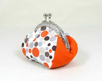 Coin purse, dot coin pouch, handmade coin purse, frame pouch, change purse, purse with metal clasp, orange and beige, gift for her