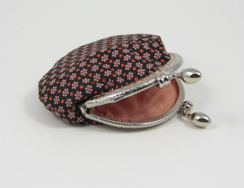 clip change purse Floral coin purse clasp purse cotton purse gift for her framed pouch little storage pouch