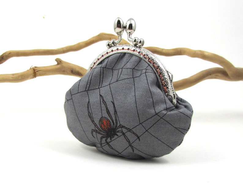 Kiss lock coin purse for her spider clasp purse scary purse spider web cotton small frame purse change purse
