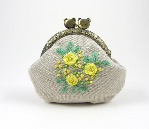 Hand Embroidered Purse Linen Coin Purse Ribbon Embroidery Etsy