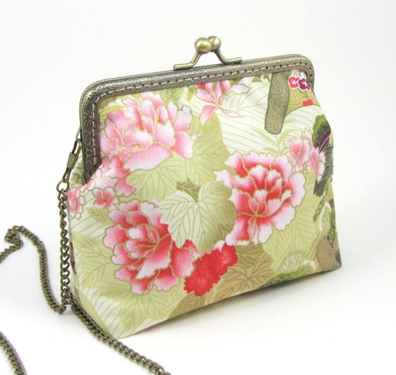 floral cotton purse for her flowers and bird print bag small frame purse sling bag Crossbody bag womens bag with chain