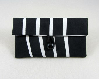 Fabric iphone case, smartphone sleeve, padded phone pouch, cellphone cover, black and white phone wallet, handmade cotton case
