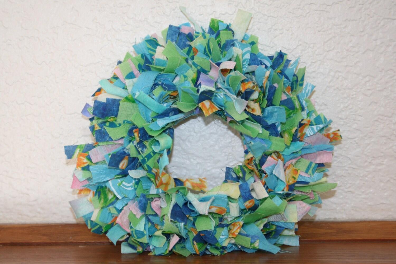 Summer Sky Mini Rag Wreath Wall Decor