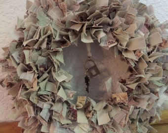 "8"" Charmed Shabby Chic Mini Rag Wreath Wall Decor"