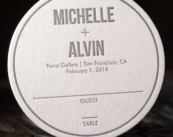 100 - Wedding Coasters,  Place Cards, Seating Cards, Letterpress Coasters