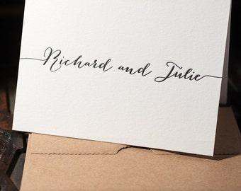 Personalized Letterpress Stationery, Thank You Card, Engagement Gift, Wedding Card, Monogram, Custom Monogram, Whimsical